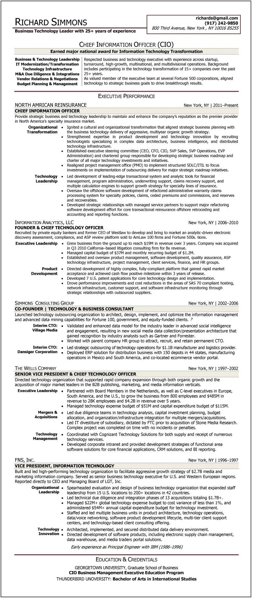 sample résumé chief information officer certified resume writer